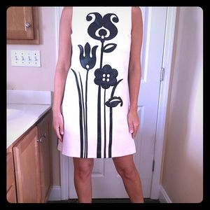 Black & White Dress with leather appliqué